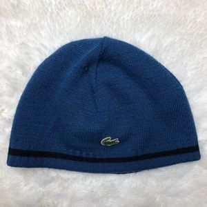 Lacoste Reversible Winter Hat Blue